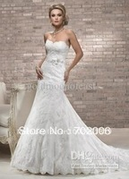 2014 New Arrival Rushed Sleeveless Cap Sleeve Princess None No Sweetheart Lace with Ribbon Mermaid Wedding Dresses Gown A3654