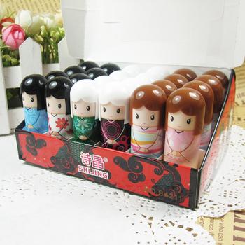 24PCS/Lot Free Shipping Cartoon Doll Makeup Lipstick Tools Lip Balm For Lip Care