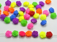 100 Mixed Matte Fluorescent Neon Beads Acrylic Rose Flower Beads Charms 12mm