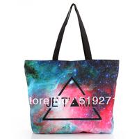 FREE SHIPPING Fashion Walker  HB012 Galaxy Starry Triangle Printed  Women Handbag Computer LAPTOP Ipad Shoulder Bag Recycle