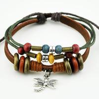 2013 Hot Fashion Multi layer Green Cuff Hemp Rope Wooden Beads Dragonfly Charm Geniune Leather Womens Mens Chain Bracelet B048