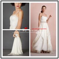 Fashion 2013 new arrival white beach floor-length draped sweetheart spaghetti straps chiffon wedding dress fast shipping j185