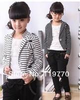 2013 Spring Children Clothing Set Girls Fashionable 3 pcs Kids Korean Fashion Suit Stripe Coat T-shirts Pants Retail