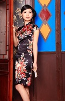 Cheongsam wire cheongsam fabric fashion tang suit chinese style evening dress a065 one-piece dress black