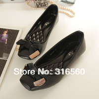 Women Square Head Metal Bow Solid Color Stitching PU Leather Flats Ballet Shoes Free Shipping