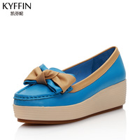 freeshipping Spring and summer genuine leather bow flat heel flat platform color block round toe casual shoes decoration
