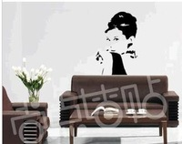 Famous Person Audrey Hepburn 60*95cm PVC Wall Mural Decal Decor 3D Wall Sticker House Stickers Vinyl Decal Free Shipping