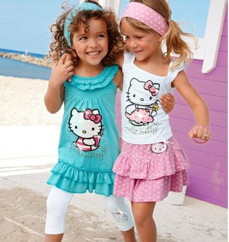 free shipping High-quality Summer Hello Kitty Baby Girl Suits Kids Sets headband+Dress+Pants Children Clothing 3pcs Set  retail