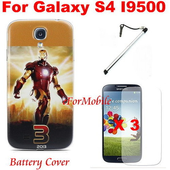 Fashion Case Battery Door Housing Back Cover Battery Cover +Screen Protector + Touch Pen For Samsung Galaxy SIV S4 I9500
