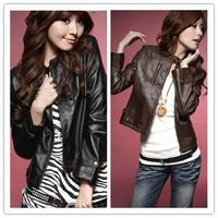 2013 Women's New Free ShippingCool Pattern Fashion Leather PU Jacket Black And Coffee  BY11042301