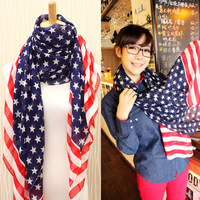 Min order is 10usd USA stars stripes flag scarf fashion elegant all-match ultra long chiffon scarf for women free shipping