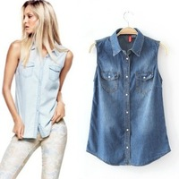 Freeshipping 2013 New Arrival  Women sleeveless Denim Blouse Shirt Plus Size XL Lady's Jeans Tops Overshirt Casual jean Blouse