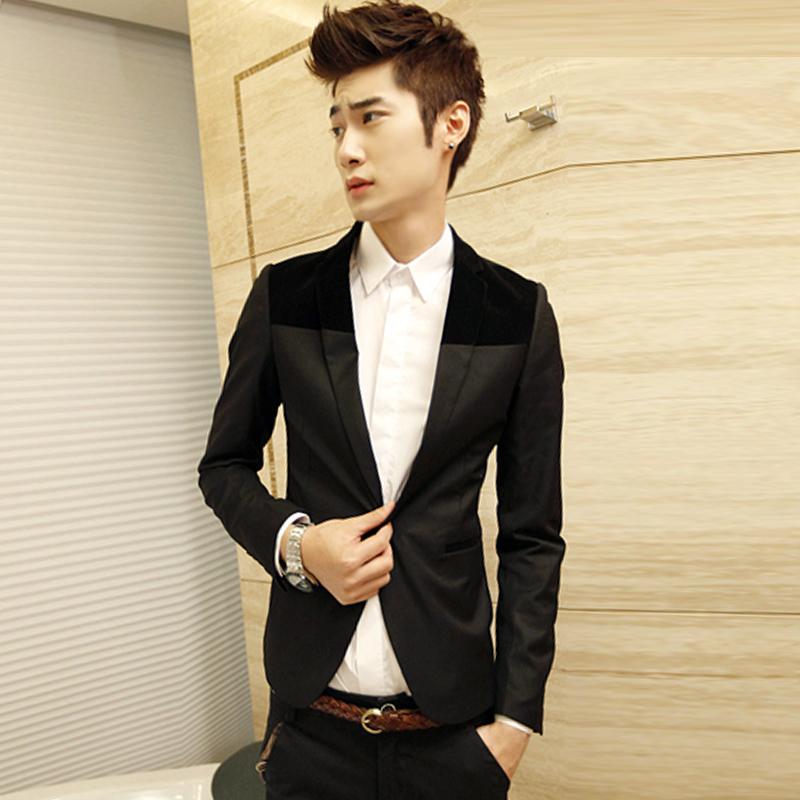 Fashion suit male blazer casual suit blazer jacket slim blazer men's clothing trend(China (Mainland))