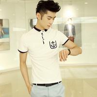 2013 summer patch pocket anchor color block half sleeve t shirt clothes trend slim men's clothing short-sleeve T-shirt