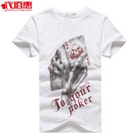 Clothing male 2013 short-sleeve t-shirt cotton 100% poker pattern o-neck short-sleeve T-shirt male