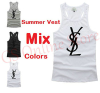 Hot Sale 2013 New Summer Fashion Men's Sports Vest Comfortable Cotton Tank Tops Slim Fit Sleeveless T Shirts With Brand Logo