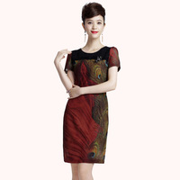 new fashion 2013 o-neck short-sleeve dress diamond print basic women's casual dress 0258001307