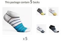 5 Socks in 1 Package ! Men's Mens Fashion Low Cut Ankle Cotton Sport socks Stripe Colorful White Black W-01