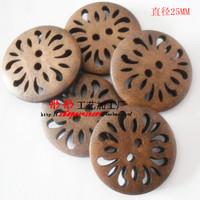 Nursery Kids Diy Antique Hollow Flower High quality wooden buttons bulk wood button mixed for crafts 100pcs/lot E-45