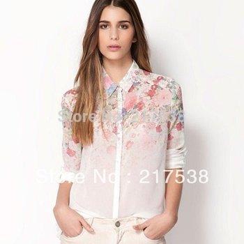 Hotsale Flower Printed Chiffon Tops Women Ladies Summer Long Sleeve Casual Shirts Blouses S/M/L dp651906 1PC