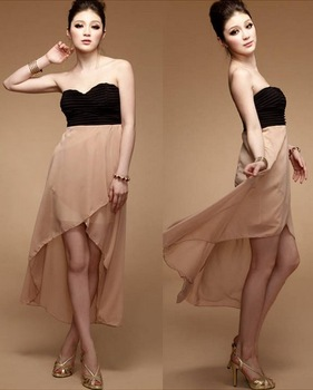 Free Shipping 2013 Hot selling New Beautiful Korean Women Chromic Flat Grasp Fold Halter Asymmetrical Dress