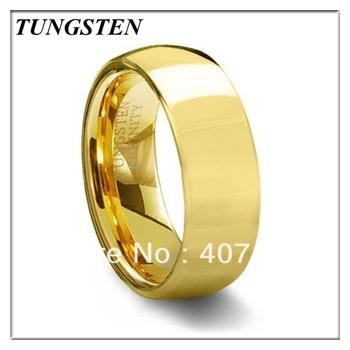 2013 8mm 18K Gold Plating Dome Tungsten Carbide Ring Wedding Ring Men's Ring ...