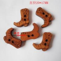 Antique High quality home decor Diy Handmade wooden buttons Girls Boots bulk wood button mixed for crafts 100pcs/lot E-48