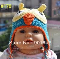 1PC Retail Newborn Boy Hoot Blue Hat, Crochet  NEWBORN BABY OWL beanie, Photography Prop Adorable Shower Gift Crochet