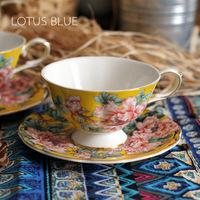 Real Gold Hand-paint Luxury sixth kiln quality bone china Beautiful Peony 7.5-Ounce Tea Cup and Saucer with Gold Trim