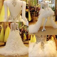 Dmr019 Dreamaker Super Luxurious Crystals Puffy Tulle Short Front Long Back Wedding Dresses