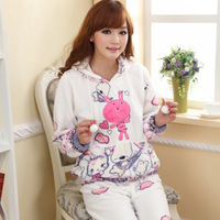 Autumn and winter animal cartoon coral fleece long-sleeve women's sleep set