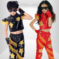 [10pcs/free ship] Female child hip-hop performance wear child costume female child modern dance costume