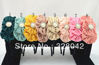 Trail order princess Boutique triple chiffon flower hairband layered fabric flower Pearl centre headbands 20pcs/lot