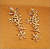 Min. order $9 Luxury full rhinestone flower gold gorgeous ultra long earrings stud earring