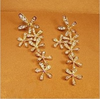 Min. order $9 Luxury full rhinestone flower gold gorgeous ultra long earrings stud earring EH297