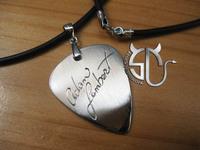Free shipping  Adam lambert Signature stainless steel Handmade guitar pick pendant  necklace for fans girls boys