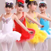 Child dance clothes female child costume ballet tulle dress puff skirt Latin dance performance wear hair accessory baby tutu