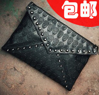 2012 women's fashion handbag vintage skull bag rivet bag envelope bag day clutch small cross-body bags