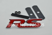 Free shipping Red RS 3D Metal Front Hood Grille Badge Grill Emblem Auto Stickers Car LOGO G3