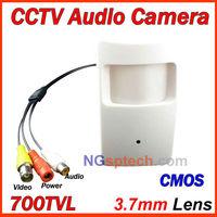 Free shipping,Big Sale! 2014 Newest most popular PIR style 700TVL Pinhole mini Audio Camera, CMOS sensor, with audio pick-up