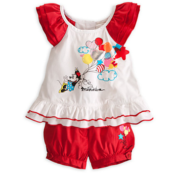 2013 Fashion New Style Children Clothes Cartoon Minnie Suit Beautiful Girls Outerwear Kids Cotton T-shirt + Red Pant Set QIN
