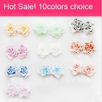 New Arrival Wholesale 3000pcs/lot Pretty Multicolor 3D Flower Nail Art Sticker Decal Decoration10 Color 10mm