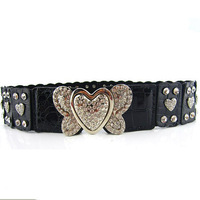 Rhinestone elastic waist skirt decoration belt fashion bow belt female personality Cummerbund