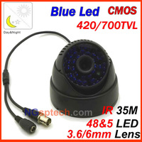 Hot sale ! 2013 security 48Blue leds IR 35 m indoor mini cctv dome camera 700tvl