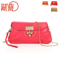 New arrival first layer of cowhide embossed chain women's genuine leather purse and handbags