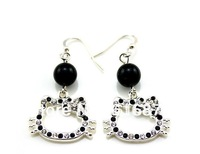 Free Shipping cute design kitty face with black Rhinestone 2cm hello kitty earrings cheap jewelry for women earrings Ht-10128