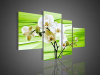 4 Piece Wall Art No Framed Modern Abstract Acrylic Flower Green Orchid Oil Painting On Canvas Knife Bars Acrylic Artwork