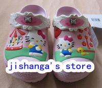 Free shipping Hot sale Hello kitty Cotton candy shoes Kids Boys and girls slippers/sandals size :6C7-12C13+Hello kitty towel 1PC