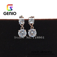 GN E025 Italina18K Gold Plated Hearts and Arrows zircon earrings Made with Genuine SWA ELEMENTS Austria Crystals!2colors