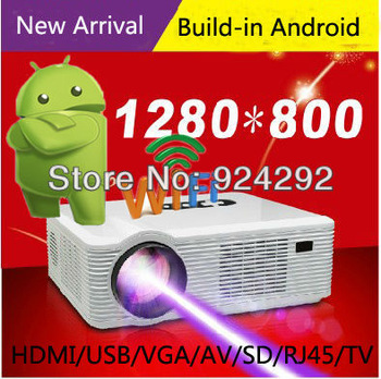 New Arrival ! 3200lumens build-in Google Android 4.0 wifi HD led projector lcd smart proyector 1080P video game beamer projektor